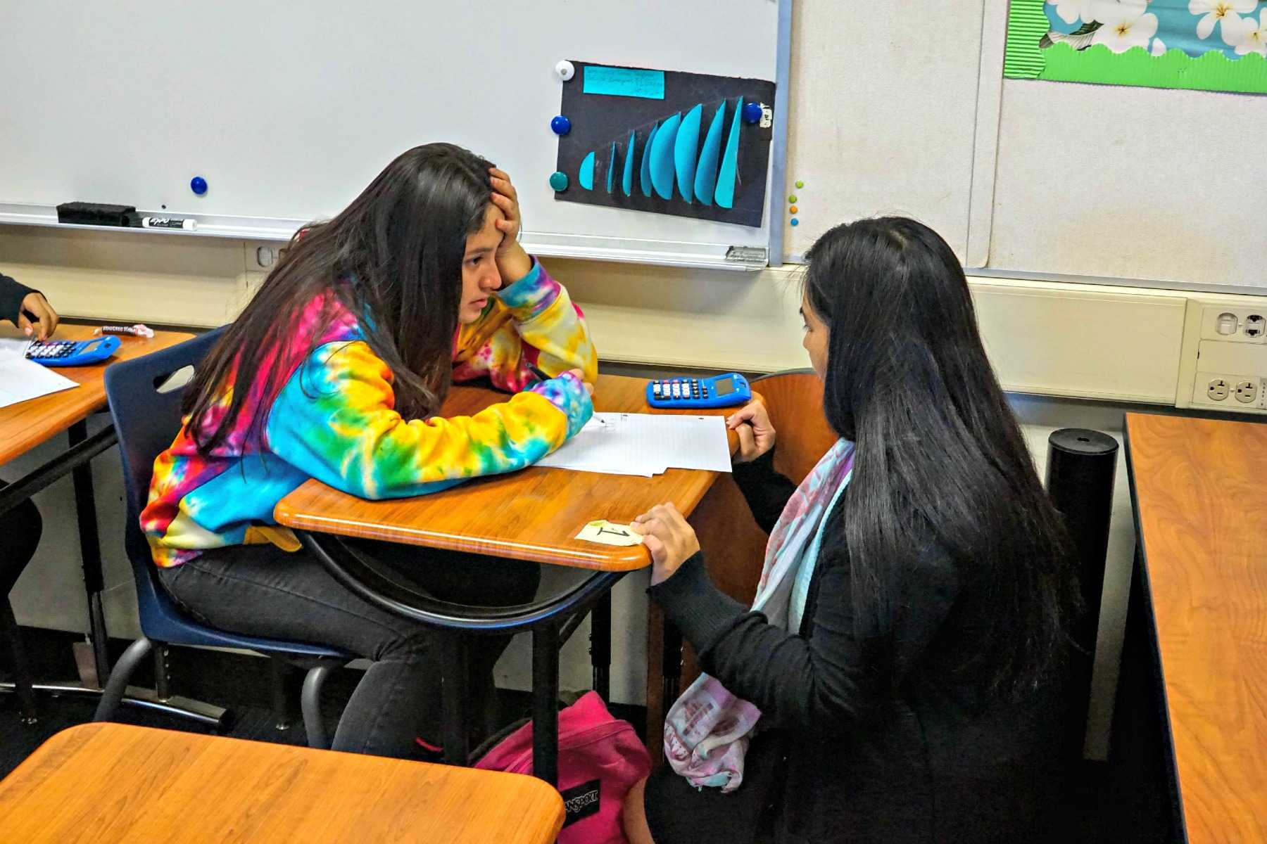 Algebra I Enhanced teacher Laraine Ignacio helps a student with a math problem. The school district recently passed a math placement policy as part of its larger effort to reduce the achievement gap among students.