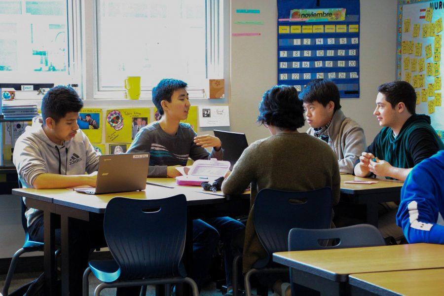 Students+work+in+Spanish+teacher+Dayana+Swank%27s+classroom.+Photo+by+Emily+Aronovitz.