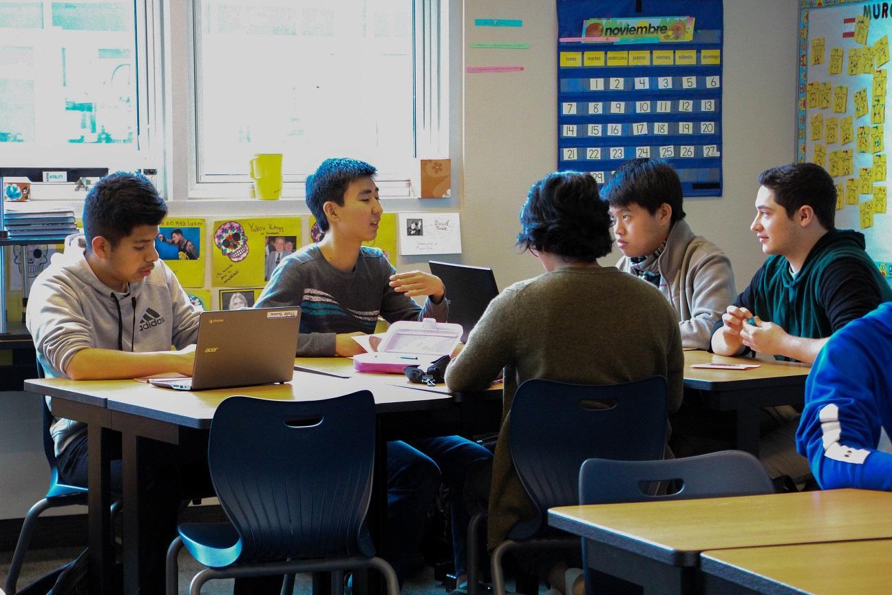 Students work in Spanish teacher Dayana Swank's classroom. Photo by Emily Aronovitz.