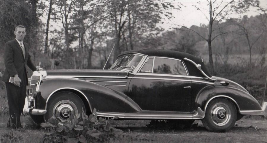 Upon the arrival of his Mercedes Cabriolet from Long Island City in 1960, Donut Derelicts member Kent Emigh took a photo to commemorate the moment. Kent spent several years searching for this car, which is one of only 47 ever produced. Courtesy of Kent Emigh.