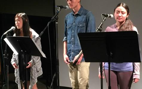 (Left to right) Junior Kalie Oku, freshman Langston Hay and junior Emily Goto perform their photo onstage. Courtesty Kalie Oku.