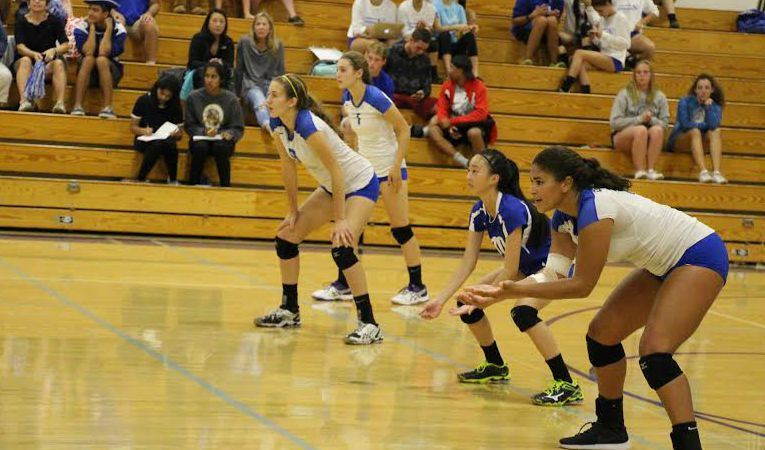 Girls Volleyball lines up to defend a serve. Photo by Allegra Maeso.
