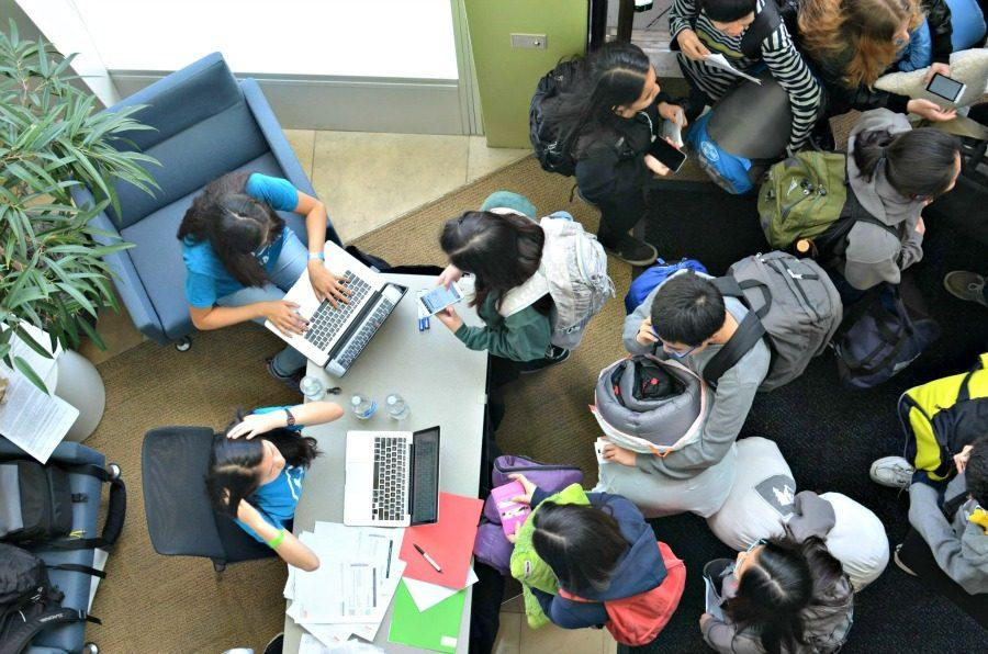 A bird's-eye view of participants at the HS Hacks II hackathon, held in February. Photo courtesy Janet Fang.