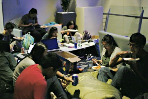 Participants of the HS Hacks II hackathon work diligently on their creations. The hackathon was held from February 7-8, 2015 at the PayPal headquarters in San Jose. Photo courtesy Janet Fang.