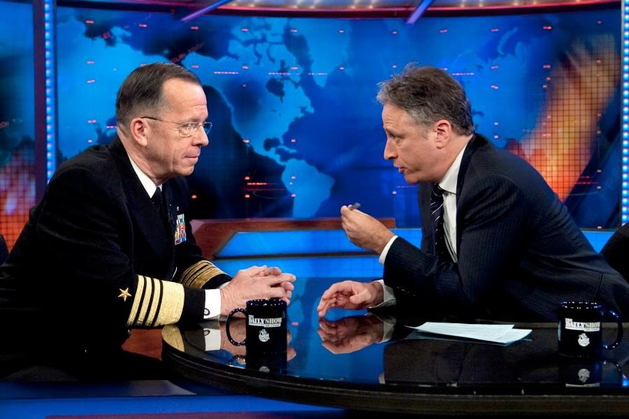 TV show host Jon Stewart (left) interviewing Admiral Micheal Mullen (right). Photo courtesy of Wikicommons user Chad J. McNeeley.