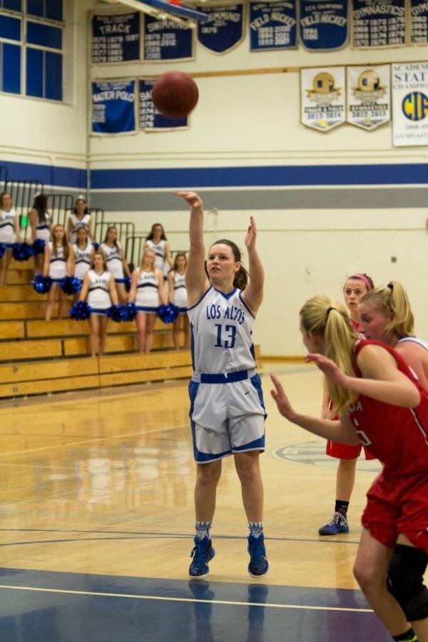 Senior+Katie+Munro+takes+a+free+throw.+The+girls+basketball+team+is+prime+for+a+successful+season.+Talon+File+Photo.