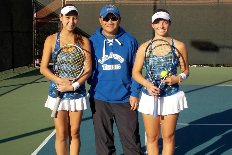 Seniors+Juliette+Martin+and+Carina+Burdick+%28left+and+right%29+pose+for+a+photo+with+head+coach+Hung+Nguyen+%28center%29+after+winning+the+CCS+doubles+title.+The+win+was+the+pinnacle+of+the+girls%E2%80%99+four-year+varsity+tennis+careers.+Photo+courtesy+of+Carina+Burdick.