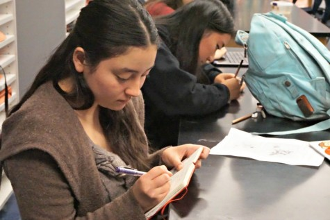 Senior Emily Goto writes in her notebook. Since she was young, Emily has enjoyed creating many forms of visual and literary art. Photo by Allegra Maeso.