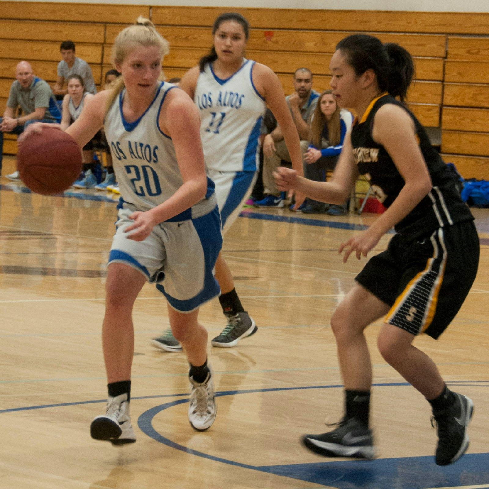 Senior Rachel Glein makes a drive toward the basket. Photo by Meilin Tsao.