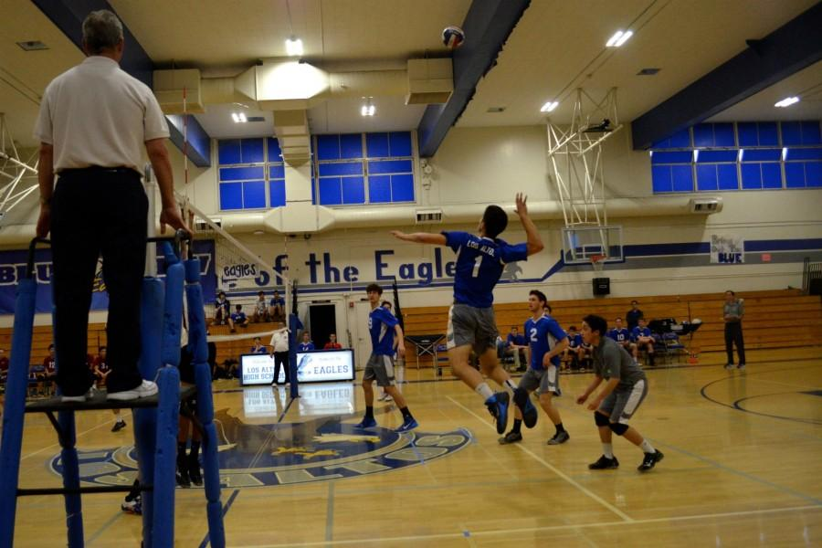 Senior Nathan Smith jumps for a kill. Despite taking a 2-1 lead, the boys volleyball team was unable to hold on against Cupertino and lost 3-2.