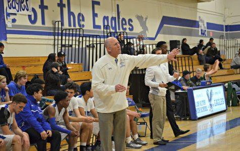 Varsity Boys Basketball coach Bob McFarlane directs the team. Photo by Kunal Pandit.