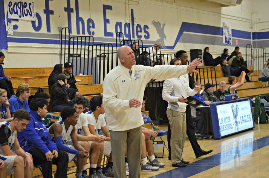 Varsity Boys Basketball coach Bob McFarlane directs the team. Photo by Kunal Pandit.