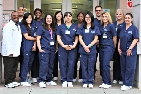 Senior Teresa Casillas-Rocha (third from left, front row) stands with her peers at the Mountain View-Los Altos Adult Education Center, where she is pursuing her goal to become a registered nurse. Photo courtesy Teresa Casillas.