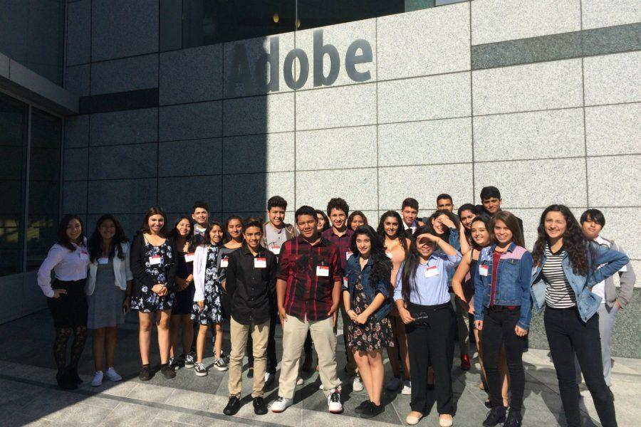 AVID students take a tour of the Adobe's headquarters as part of the Four-Year Exploration program set up last year. Among other goals, expansion of the Exploration program is one of the MVLA School Board's priorities this school year. Photo courtesy Keren Dawson-Bowman.