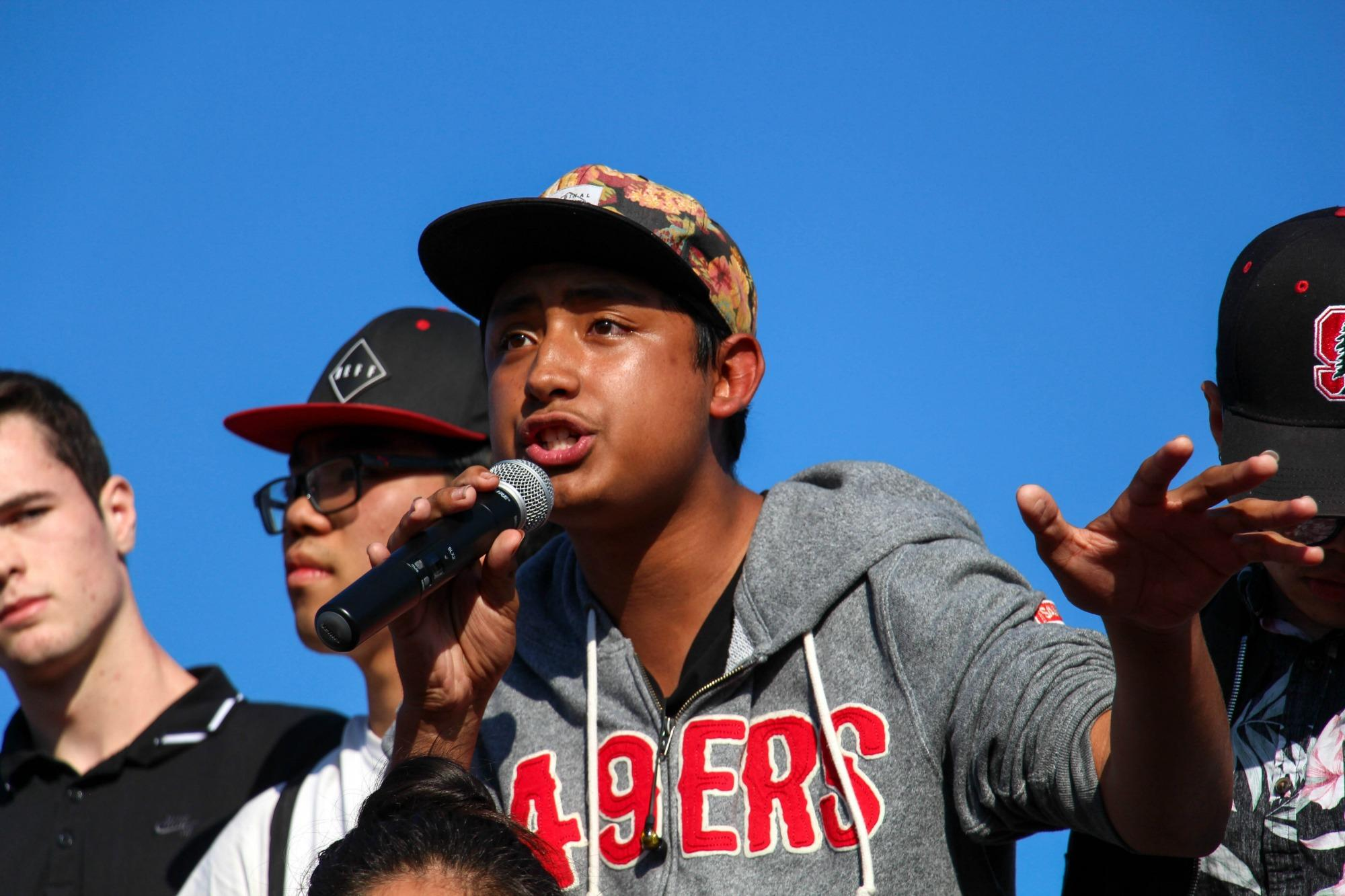 Junior Jesus Membrillo speaks at the Los Altos walkout that occurred on Monday November 14. Jesus promotes unity on campus and plans to organize his future around politics. Photo by Michael Sieffert.