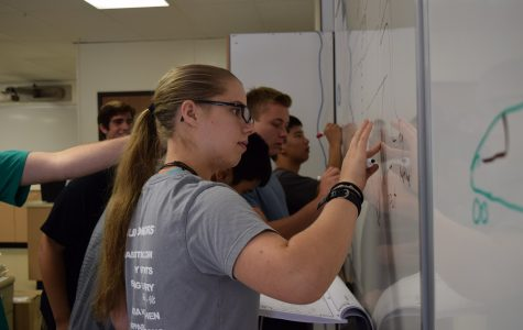 Students work in Project Lead the Way's aerospace engineering class. Three Dimensional Design and Protoyping, to be offered next year, will augment Project Lead the Way's offerings. Talon file photo.