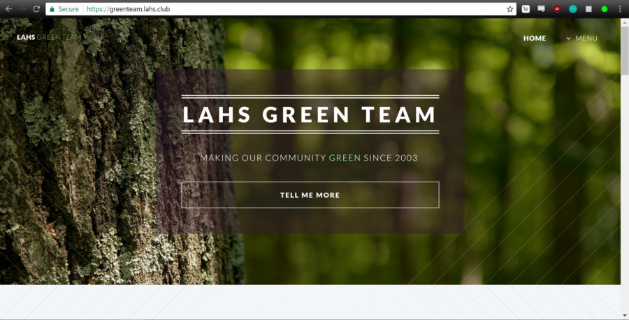 Hack Club member Kung-Min Lin collaborated with Green Team members to make greenteam.lahs.club, shown above. Hack Club started a program, get.lahs.club, to offer clubs on campus free websites.