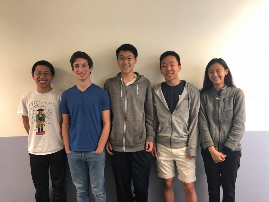 The math modeling team that qualified as finalists to present their solution in New York City consisted of seniors Ryan Huang, Michael Vronsky, Daniel Wang, Justin Yu and Joanna Yuan. After a year of practice competitions and club meetings, the team improved their synergy and learned to better delegate tasks. Courtesy Carol Evans.