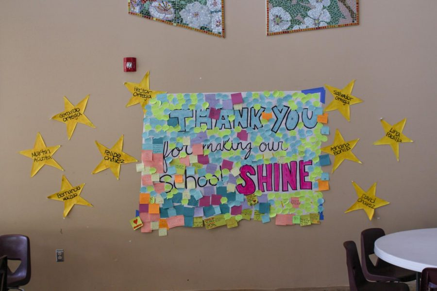 Students' appreciation notes  attached to a poster in the cafeteria. Ishaan Parmar.