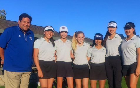 Girls golf swings to the top