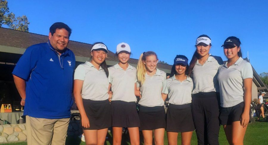 The girls golf team after a league game against Homestead. The team qualified for leagues and CCS as a team the first time, and they placed second in leagues.