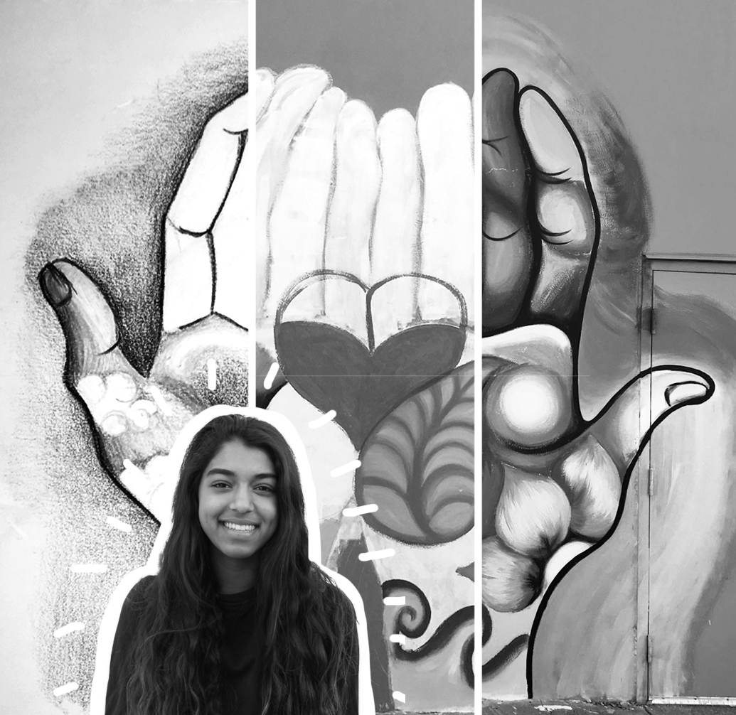 1: Kavya's initial sketch of her visioned mural with colored pencils in her notebook. 2: She starts to draw and paint on the wall, trying to illustrate her vision before adding all the details. 3: Kavya's finished mural for the Boys and Girls Club displayed in San Mateo.