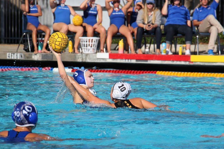 Junior Olivia Cairns looks for a pass at the Eagles' game against rival Mountain View. The girls water polo team lost 7-12, and they face Mountain View again this Saturday for CCS Championships.