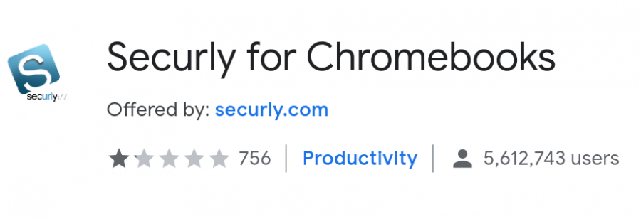 Securly, as advertised in the Google Chrome web store, is a website filtering extension installed by MVLA. Courtesy Google Chrome web store.