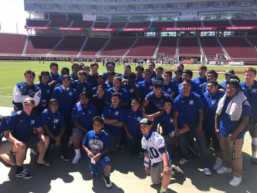 Last year's varsity football team before kickoff at Levi's Stadium, where Los Altos played Cupertino High School in September, 2017. This past season, the team had a 4-6 record overall.