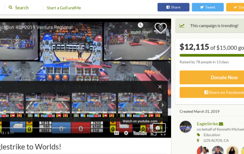 Eaglestrike started a GoFundMe to raise money to send their team to the FIRST World Championship in Houston, Texas from April 17 to 20.