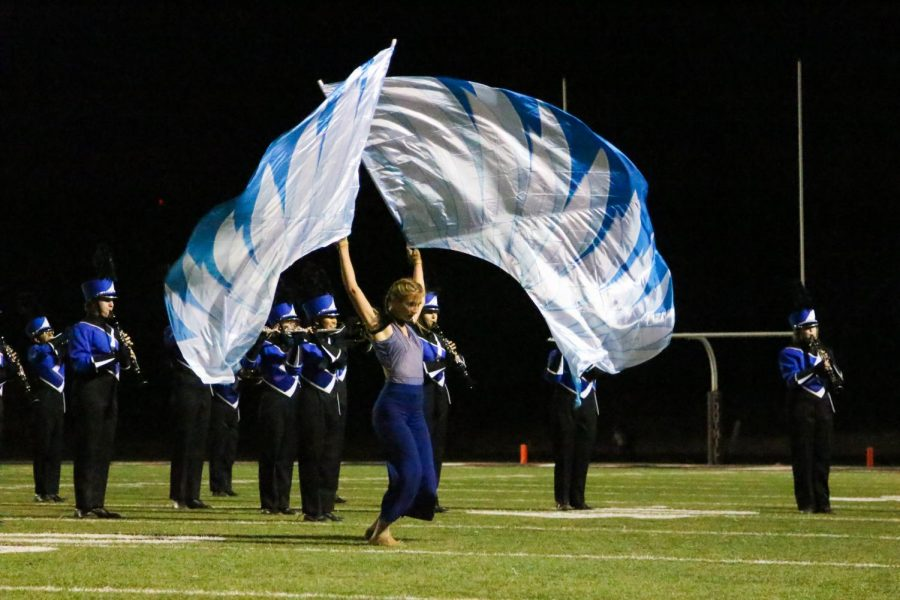 Los Altos Eagles Marching Band and Color Guard performs their production titled