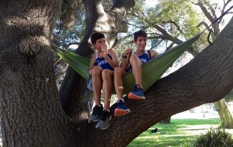 After the 2018 Homecoming Parade, Cohan (left) and Sage (right) hang out in a hammock together.