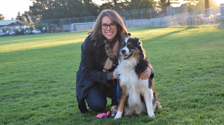 History teacher Kelly Coble & Australian Shepherd Rugby