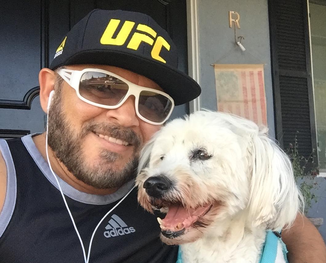 School counselor Ariel Rojas & Dalmatian Terrier mix Rico