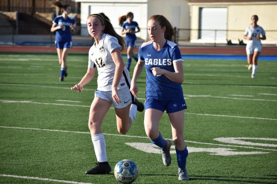 Senior Michelle Odnert breaks away from a Mountain View defender and heads towards the goal. Los Altos worked harder for the ball this game than ever before, but the Spartans eventually defeated the Eagles 1-3.