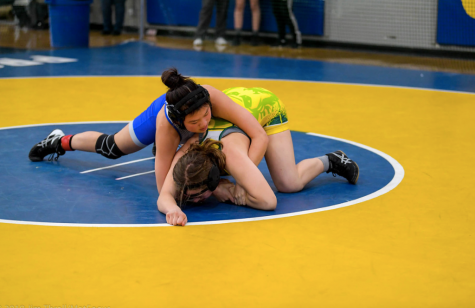 Junior Suzanne Guo attempts to flip her opponent during a meet against Prospect High School. Under head coach Jim Thrall, Suzanne and other wrestlers elevated their wrestling skills with individualized guidance. However, Thrall was dismissed mid-season on January 28.