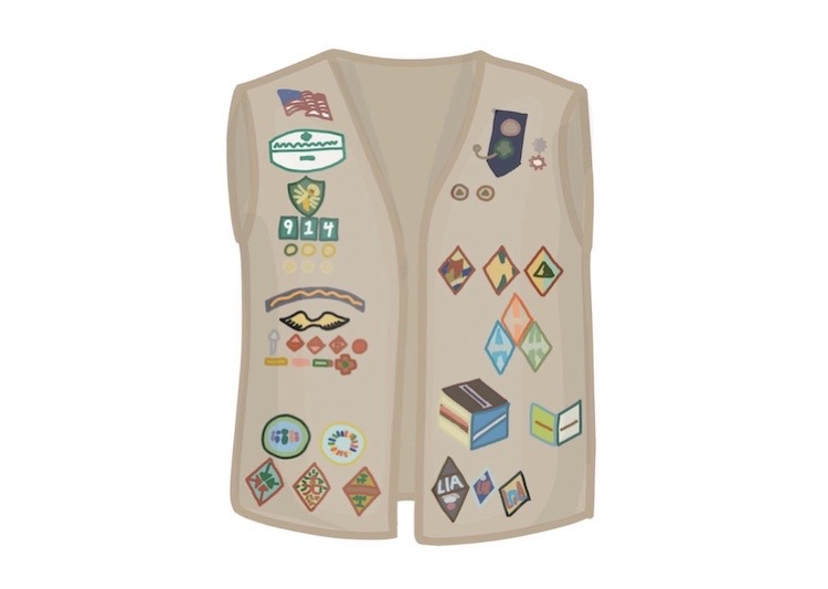 A Girl Scouts Uniform vest. Girl Scouts at Los Altos answer questions about their experiences.