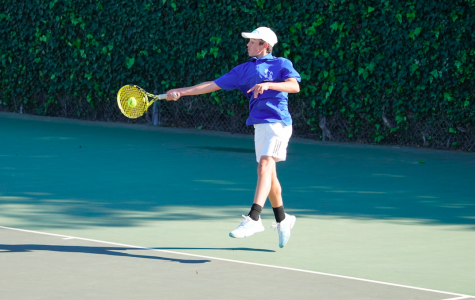 Freshman Matteo Antonescu plays singles one during the varsity boys tennis match against Mountain View. He hopes to become a professional tennis player with the help of his strong work ethic coupled with his technical strengths.