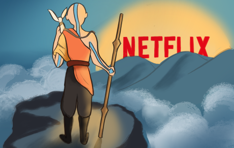 Aang looks out at the sky as Netflix rises in the east.