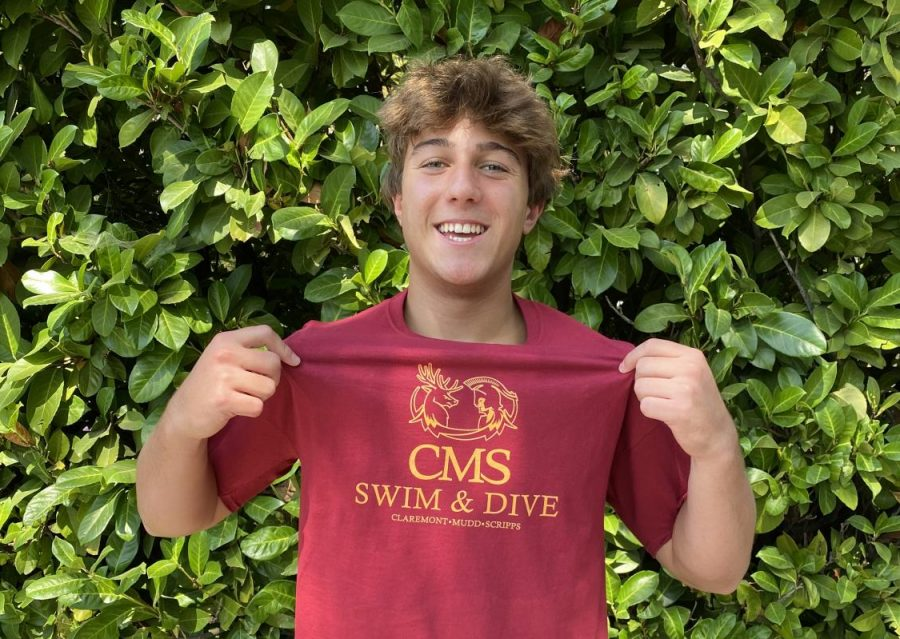 Senior Cyrus Gaylord proudly shows off his Claremont McKenna College (CMC) merch. On Sunday, September 20, Cyrus committed to CMC's Division III program to further his diving career.