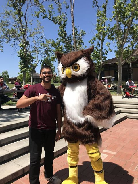 Gurshaan Arora, '19, is pictured posing with Footsie the Owl, the Foothill College mascot. Arora is in his sophomore year at Foothill College and maintains a positive outlook on distance learning as he looks to transfer into UC Davis's pre-med program next fall.