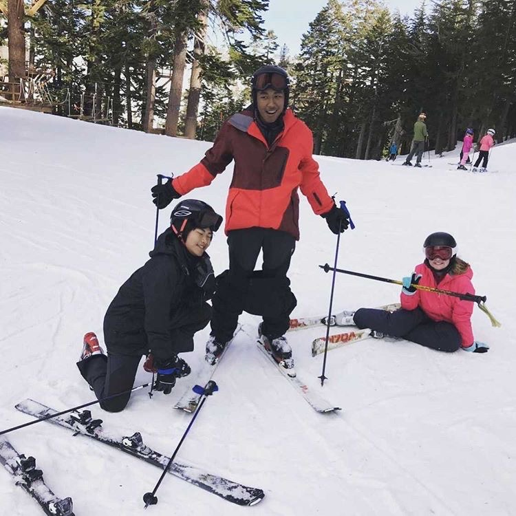 Vice President Dima Jones (center), President Maelle Allanic (right) and another club member shred down Tahoe's snow-covered slopes on one of their unofficial Kpop and Anime Club bonding trips. Unconventional trips and events like these have bridged the divide between the Kpop stans and Anime fans even during a virtual school year.