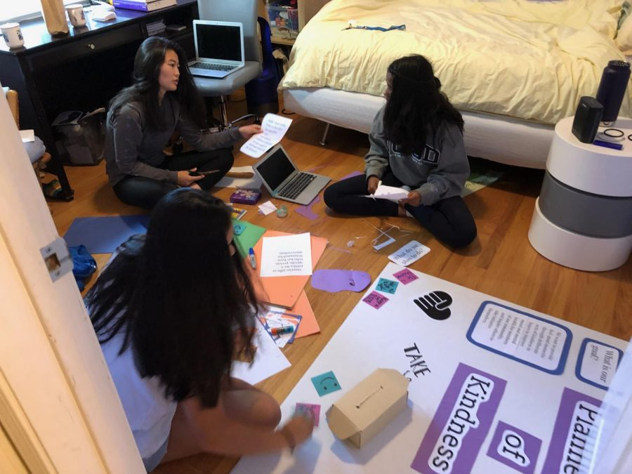 Vice President Katherine Lai (left) as well as Co-Presidents Jeannette Wang (front) and Eesha Palasamudrum (right) are shown preparing Planned Acts of Kindess (PAK) for Club Day back in 2019. Although they started PAK in middle school, the three have returned to their simple mission of making the days of their peers a little brighter, expanding this year towards helping students manage their mental health.
