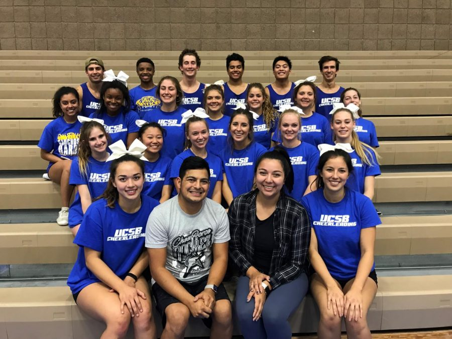 Alexandra Perez gathers with the UC Santa Barbara cheer team, whose competition routine she choreographed. Perez brings her 15 years of cheer experience to the Los Altos Cheer team as the Eagles' new coach.