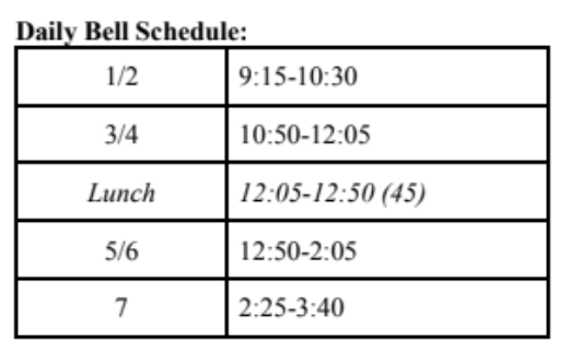 Bell schedule for rotating hybrid model