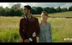 Daphne and the Duke walk through a meadow in the Netflix show