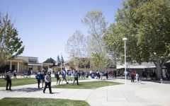 Students walk through the quad to get to their fifth period class.