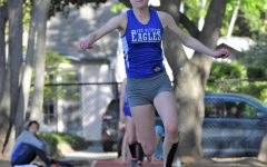 Senior Eliza Morgan prepares for her triple jump in her sophomore year at the SCVAL De Anza Division competition. Last year, Eliza committed to Swarthmore College's Division III track and field team and is preparing to head there this fall.