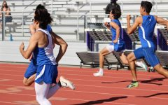 Los Altos varsity boys race in the 100-meter dash to mark the beginning of the pentathlon. Throughout the pentathlon, athletes competed in a 100-meter dash, shot-put, long jump, high jump and a 400-meter race, with senior Jimmy Dessouki winning for the boys and sophomore Megan MacKenzie winning for the girls.