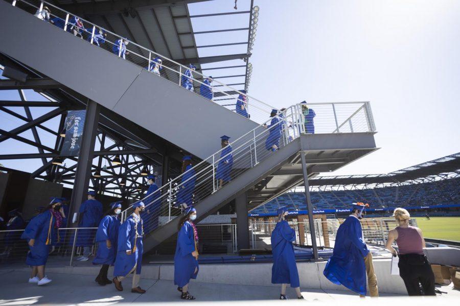 Graduating seniors preparing to walk across the podium.